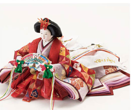 雛人形・京小十番親王柳官女付毛氈三段飾りセット No2000 女雛