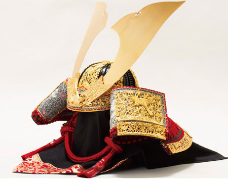 奈良 春日大社所蔵 国宝模写 『竹に虎雀』金物赤糸縅大鎧三分の二 兜飾り