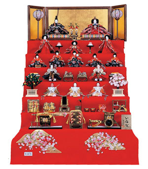 雛人形 毛氈七段飾り コンパクトサイズ