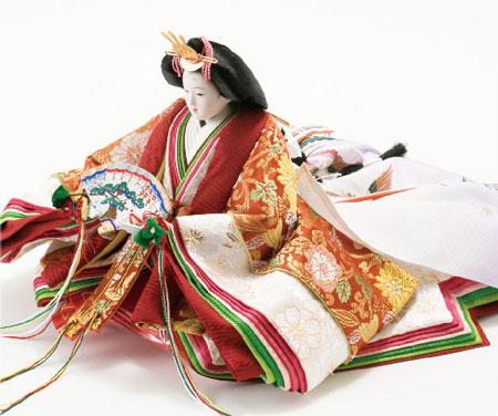 雛人形・京八番親王六寸8人(官女・五人囃子付)十人揃い焼桐三段飾りNo3030 女雛