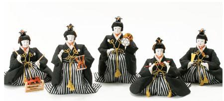 雛人形・京八番親王六寸8人(官女・五人囃子付)十人揃い焼桐三段飾りNo3030 五人囃子