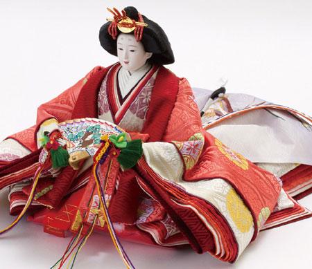 京八番親王六寸官女付焼桐三段飾りセット No3031B 姫