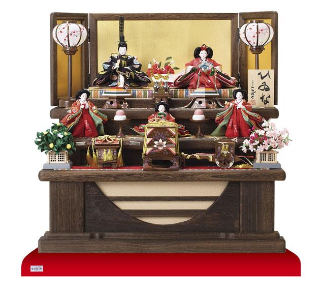 雛人形・京小十番親王柳官女付五人焼桐三段飾りNo2992
