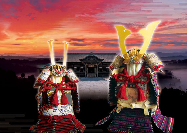 五月人形は国宝模写鎧飾り 愛媛 大山祇神社所蔵 国宝 紫糸威大鎧模写  四分之一 鎧飾り