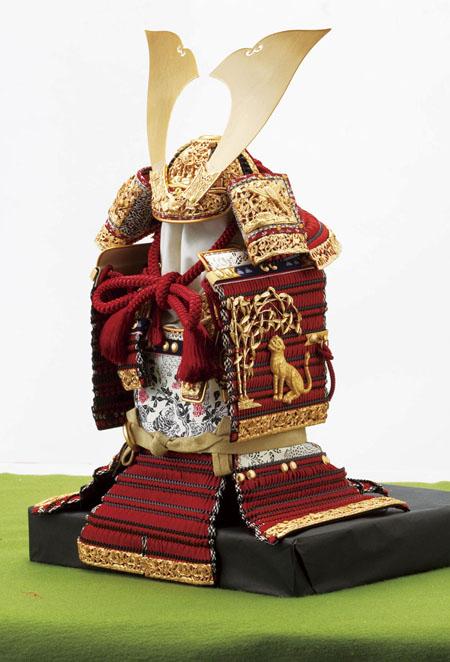 五月人形 国宝模写『竹に虎雀』金物赤糸威大鎧 模写鎧飾り No321-A