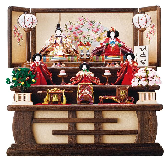 雛人形 焼桐三段飾り 親王・官女飾り