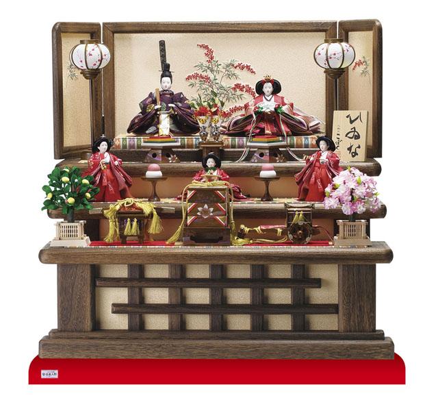 雛人形・京小十番親王柳官女付焼桐三段飾りNo3000B