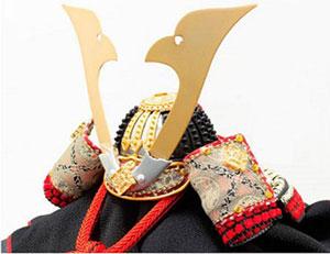 五月人形 山梨 菅田天神社所蔵 (平安時代後期)国宝模写 小桜黄返皮威大鎧 兜飾り。