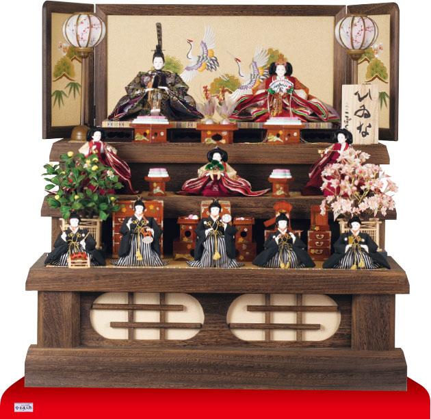 雛人形・京八番親王六寸8人(官女・五人囃子付)十人揃い焼桐三段飾りNo3030