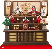 京八番S親王六寸官女付衣装着焼桐三段飾りの雛人形 No3032