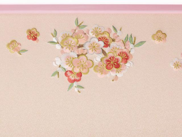 雛人形・京小十番親王柳官女五人飾り塗り桐三段飾りNo3001B ひな屏風 梅の刺繍