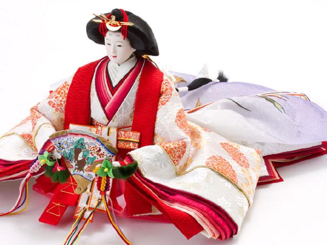 京八番S親王六寸官女付衣装着焼桐三段飾りの雛人形 No3032 女雛