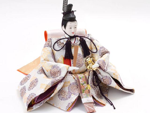京八番S親王六寸官女付衣装着焼桐三段飾りの雛人形 No3032 男雛