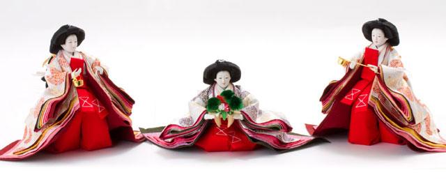 京八番S親王六寸官女付衣装着焼桐三段飾りの雛人形 No3032 官女