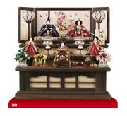 コンパクトサイズの衣装着京小十番親王柳官女付焼桐三段飾りセットNo2993