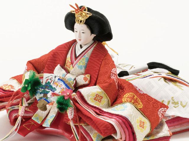 コンパクトサイズの衣装着三段飾りのひな人形No2993 女雛