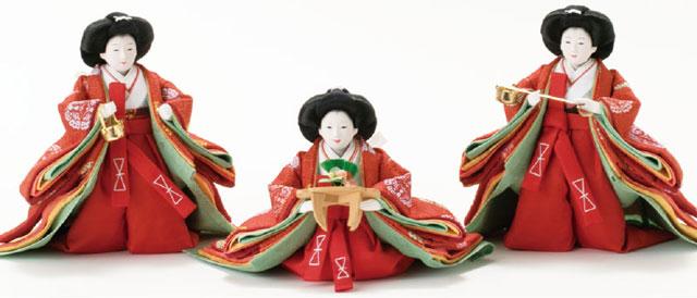 コンパクトサイズの衣装着雛人形・京小十番親王柳官女付 焼桐三段飾りNo2993 官女