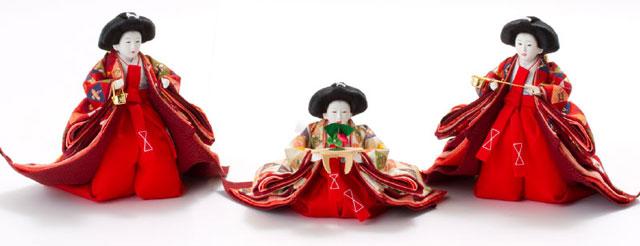 衣装着 京十番親王芥子官女付三段飾り No3011 三人官女