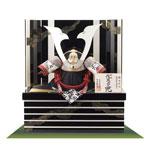 五月人形収納飾り厳島神社所蔵  国宝模写浅葱綾威収納台兜飾りNo310-E