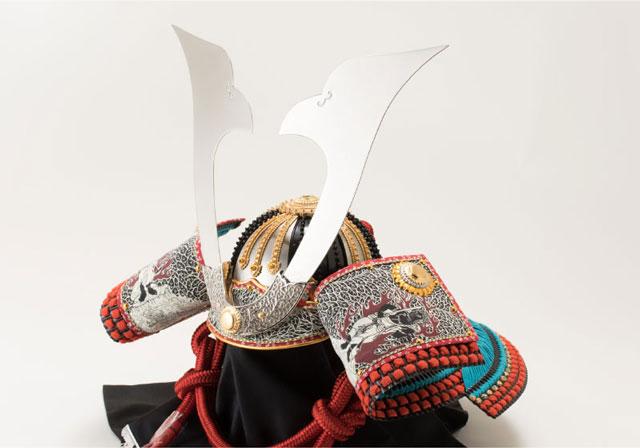 五月人形・厳島神社蔵 国宝『浅葱綾威』模写三分の二 兜飾り No310E 兜の部分