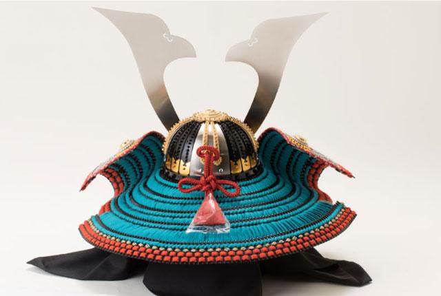 五月人形・厳島神社蔵 国宝『浅葱綾威』模写三分の二 兜飾り No310E 兜の背面