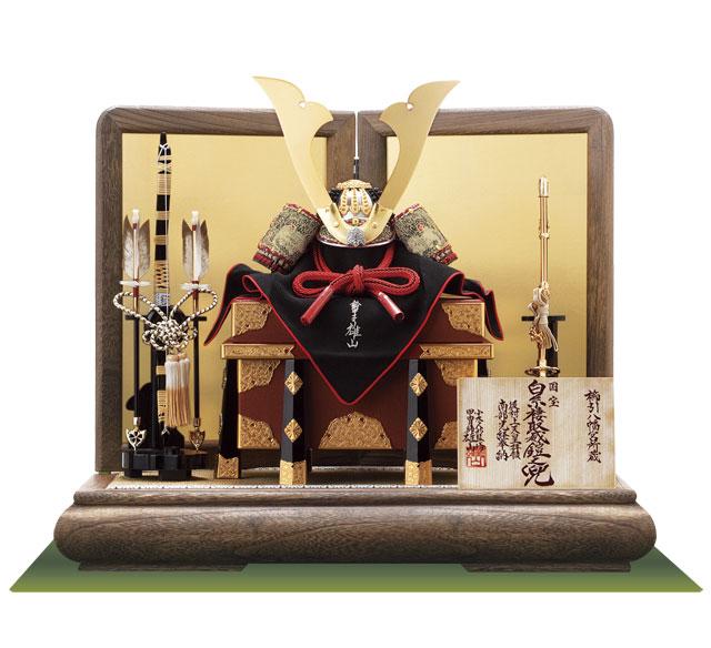 五月人形・国宝模写鎧兜 白糸威褄取り大鎧の兜平台飾り No311C