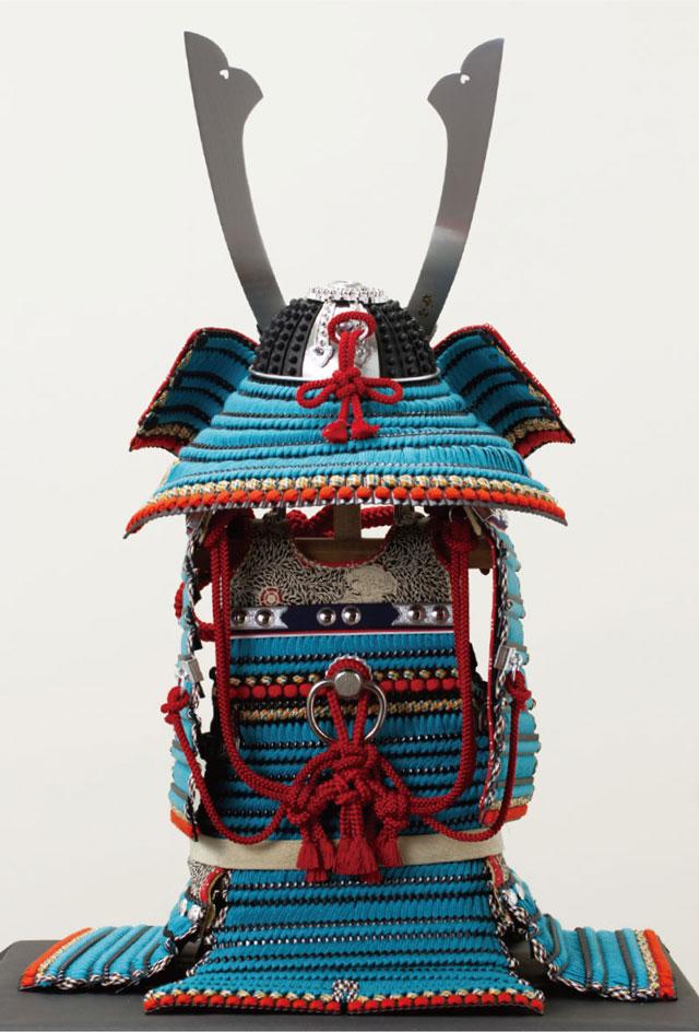 五月人形・国宝模写 厳島神社所蔵 浅葱糸威大鎧模写平台飾り No321 大鎧の背面