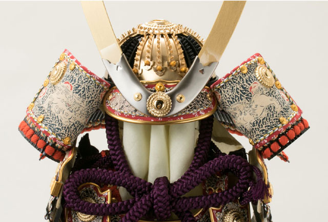 五月人形・重文模写 紫裾濃威大鎧 平台飾りNo321G 兜の部分
