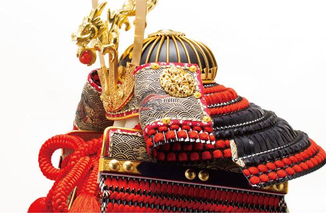 五月人形・ 厳島社所蔵 重要文化財 黒韋威肩紅の大鎧模写 鎧飾り No321I 兜本体