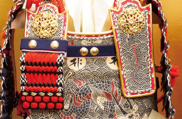 五月人形・ 厳島社所蔵 重要文化財 黒韋威肩紅の大鎧模写 鎧飾り No321I 大鎧の弦走り
