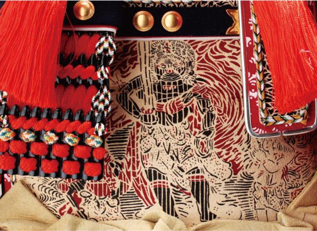 五月人形・春日大社所蔵 国宝模写紅糸威  梅飾りの大鎧 321L 大鎧の弦走りの部分