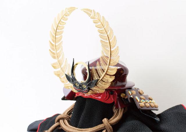 五月人形・徳川家康公歯朶前立て大黒頭巾 陣幕兜飾り No4151 歯朶の前立ての兜