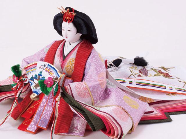 雛人形 京十番親王焼桐平台親王飾りNo1012 女雛の衣装とお顔