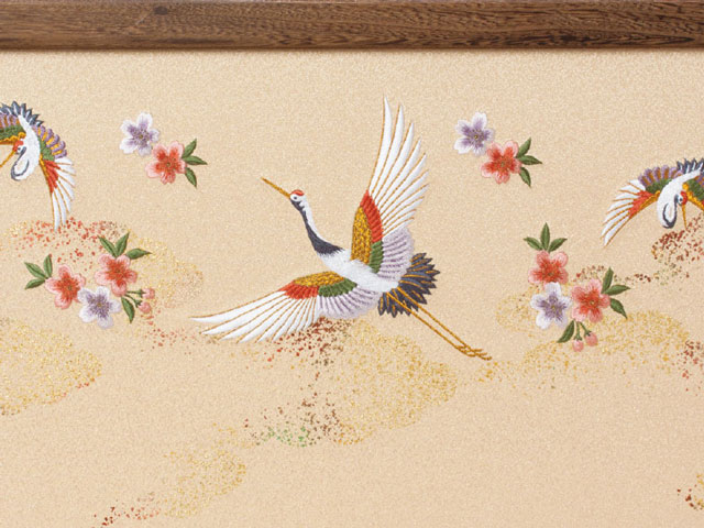 雛人形 京十番親王焼桐平台親王飾りNo1012 ひな屏風 鶴と桜の刺繍