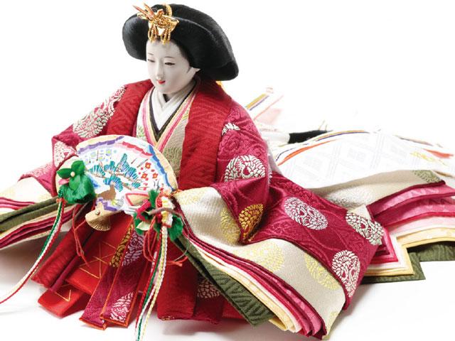 衣装着焼桐京十番親王飾りの雛人形 No1013C 女雛の衣装とお顔