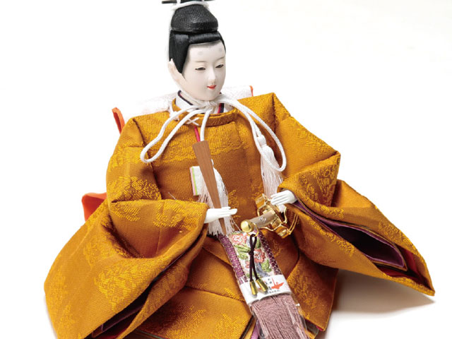 衣装着焼桐京十番親王飾りの雛人形 No1013C 男雛の衣装とお顔