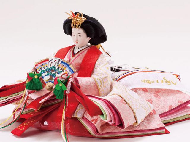 雛人気廟・収納飾りの雛人形 京小十番親王焼桐収納飾りセット No1027 女雛の衣装とお顔