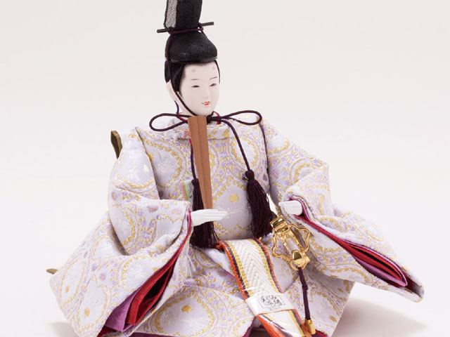 雛人形・焼桐収納飾り 京小十番親王  No1027 男雛の衣装とお顔
