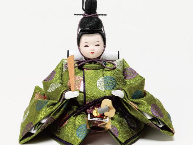 ミニ黒塗り平台飾り 小柳親王 男雛の衣装とお顔