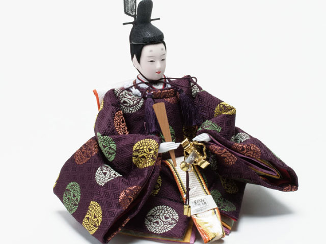 京小十番親王柳官女付焼桐三段飾りセット No3000B  男雛の衣装とお顔