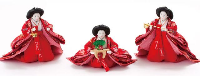 雛人形・京小十番親王柳官女付焼桐三段飾りNo3000B 三人官女
