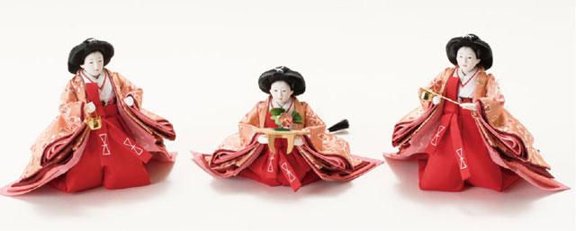 京小十番親王柳官女付塗り桐三段飾り No3001B 官女の衣装とお顔