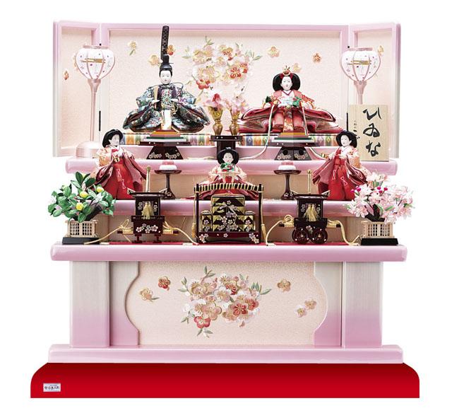京小十番親王柳官女五人飾り塗り桐三段飾りNo3001B