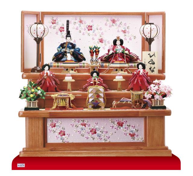 雛人形・京小十番親王・柳官女付五人飾り塗り桐三段飾り No3012C