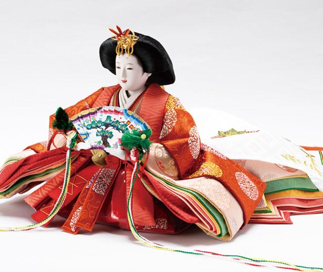 雛人形・京十番焼桐平台親王飾りNo1014C 女雛の衣装とお顔