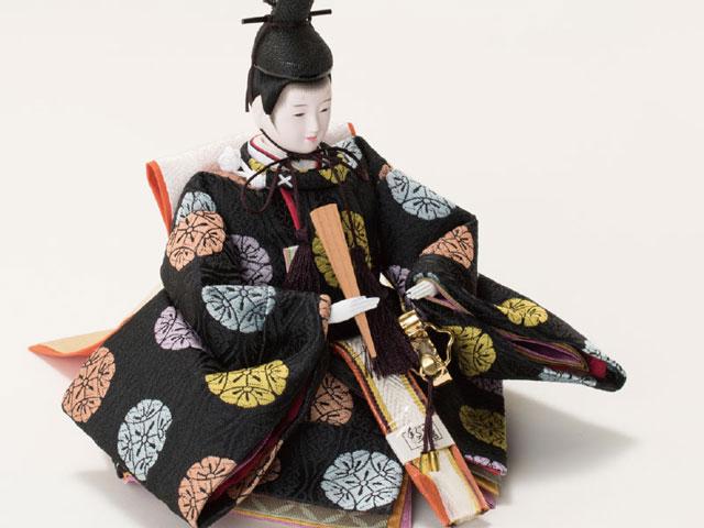 雛人形・京小十番親王柳官女付五人焼桐三段飾りNo2992 男雛の衣装とお顔