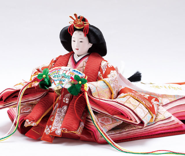 雛人形・京小十番親王・柳官女付焼桐二段五人飾りNo2995 女雛の衣装とお顔
