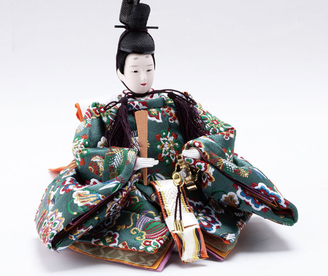 雛人形・京小十番親王・柳官女付焼桐二段五人飾りNo2995 男雛の衣装とお顔