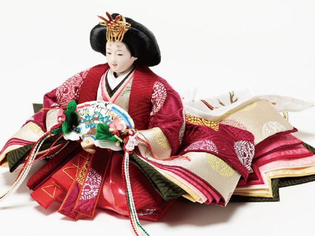 雛人形・京小十番親王・柳官女付五人飾り塗り桐三段飾り No3012C 女雛の衣装とお顔