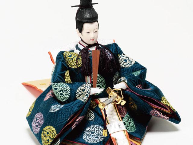 雛人形・京小十番親王・柳官女付五人飾り塗り桐三段飾り No3012C 男雛の衣装とお顔